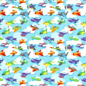 Katoen tricot vliegtuigen print