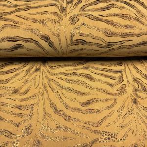 Ribcord goud bedrukt stof